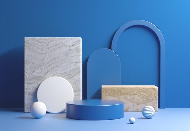 Nowoczesny wyświetlacz makieta niebieski z kompozycją abstrakcyjnej geometrii