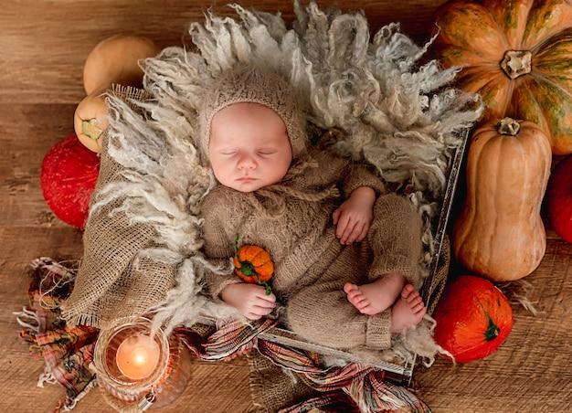 Noworodek śpi otoczony pomarańczowymi dyniami