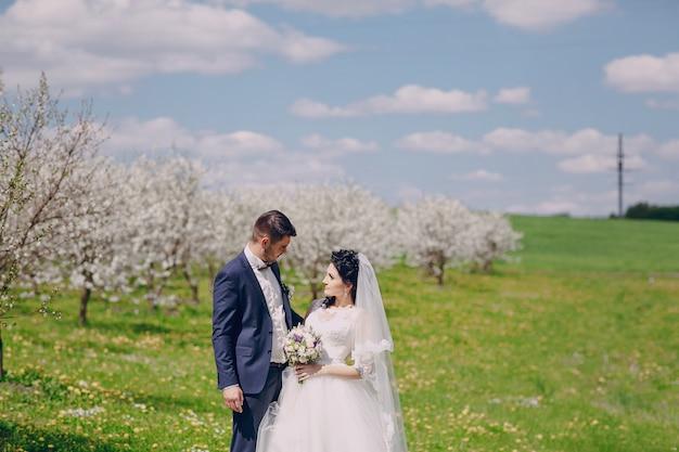Nowożeńcy spędzają popołudnie wiosna w polu