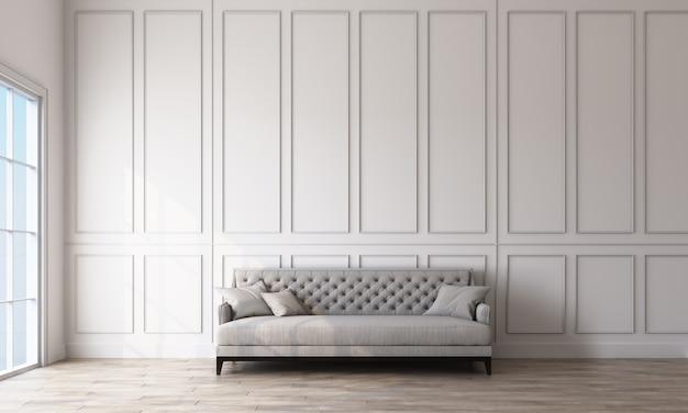 Nowożytna klasyczna wewnętrzna szara kanapa z ściennymi panelami i drewnianym podłoga 3d renderingiem