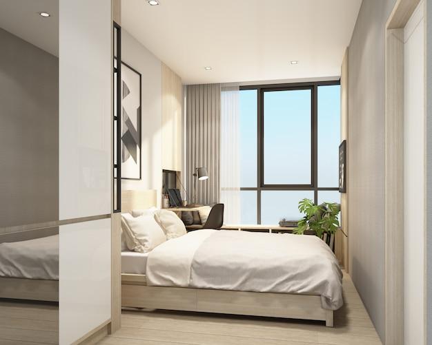 Nowożytna sypialnia w kondominium z nowożytnym współczesnego stylu wnętrza 3d renderingiem