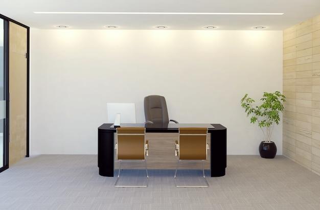 Nowożytnego kierownika biurowego pokoju wnętrze, 3d rendering