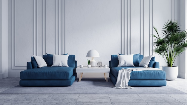 Nowożytnego rocznika żywy izbowy wnętrze, błękitna kanapa z biel ścianą i betonowa podłoga, 3d rendering