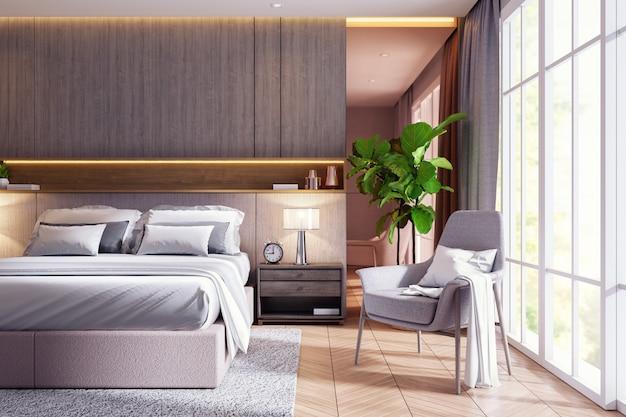 Nowożytnej luksusowej sypialni wewnętrzny projekt, 3d rendering
