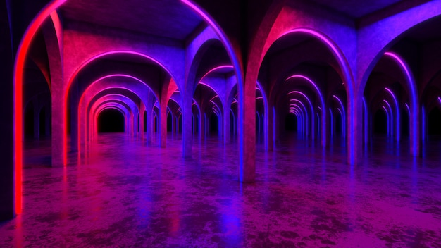 Nowożytny betonowy wnętrze z, ultrafioletowy, 3d odpłaca się