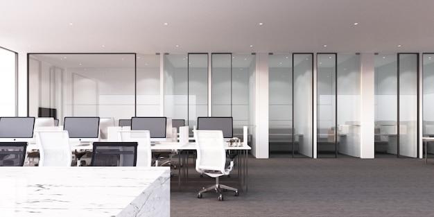 Nowożytny biurowy pracujący teren z szarą dywanową podłoga i białym renderingiem 3d biurka i pokoju konferencyjnego