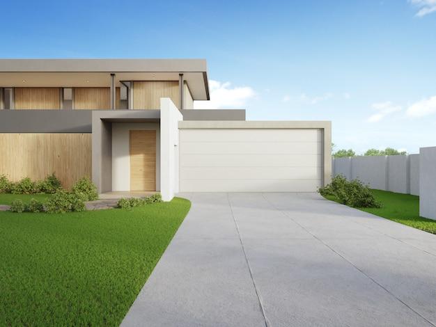 Nowożytny dom i zielona trawa z niebieskim niebem w nieruchomości sprzedaży lub majątkowej inwestyci pojęciu.