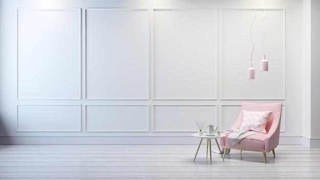 Nowożytny klasyczny wnętrze żywy pokój, światło - różowa kanapa na białym pokoju, 3d rendering