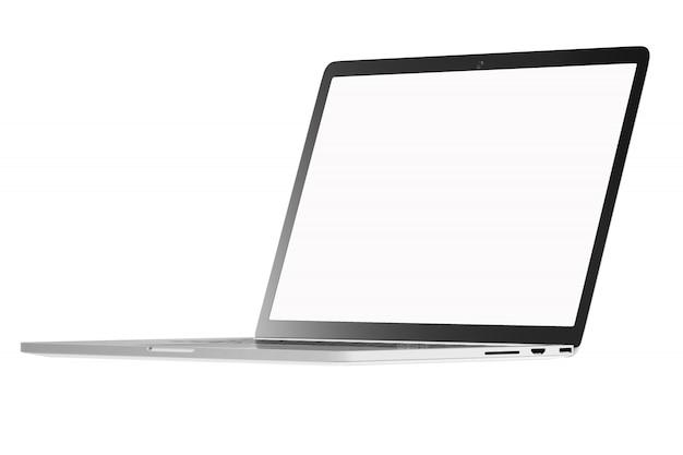 Nowożytny komputerowy laptop otwiera bielu ekran na białym tle