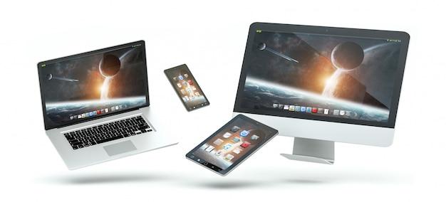 Nowożytny komputerowy laptopu telefon komórkowy i pastylka unosi się 3d rendering