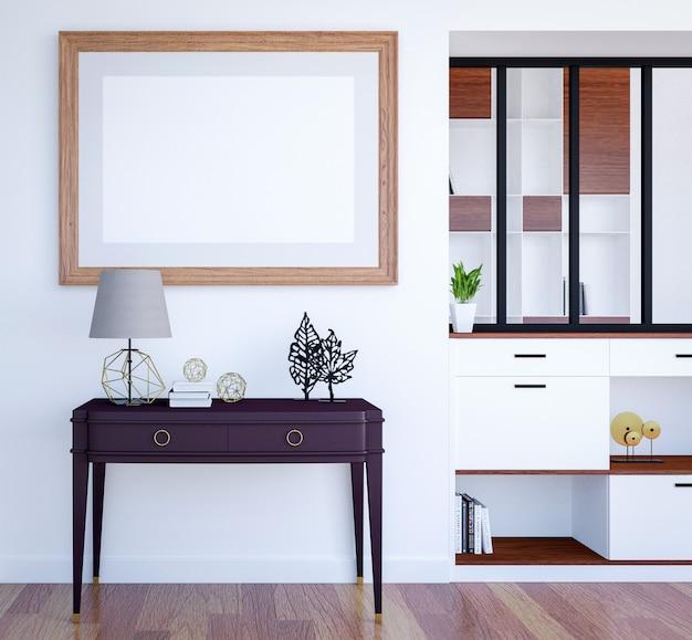 Nowożytny luksusowy żywy izbowy wewnętrzny tło z wyśmiewać pustą plakat ramę, 3d rendering