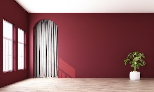 Nowożytny memphis wnętrze z czerwieni ścianą i szarą zasłony behide wysklepia 3d rendering