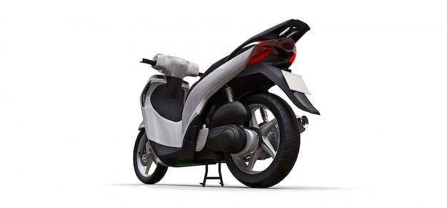 Nowożytny miastowy biały motorower na białym tle. 3d ilustracji.