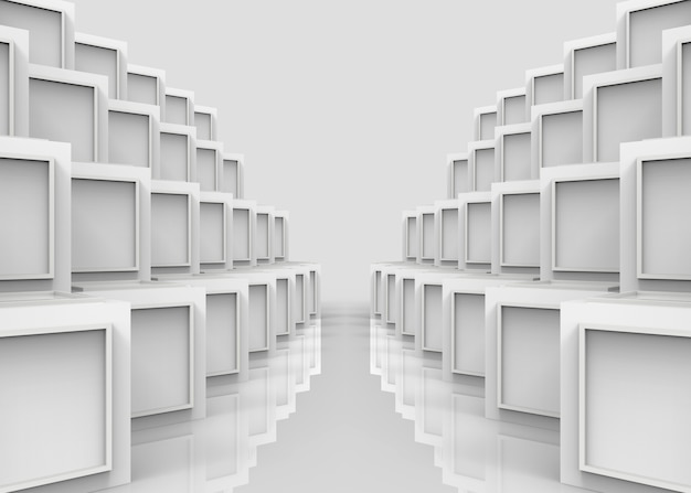 Nowożytny sqaure wzór na białym sześcianie boksuje sterta rzędu ściany tło.