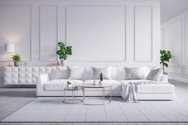 Nowożytny wnętrze żywy pokój, biała kanapa z cofee stołem na dywanowych płytkach i biel ścianą, 3d rendering