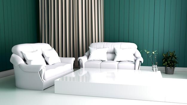 Nowożytny wnętrze żywy pokój i miękka kanapa na ściennym zmroku, 3d rendering