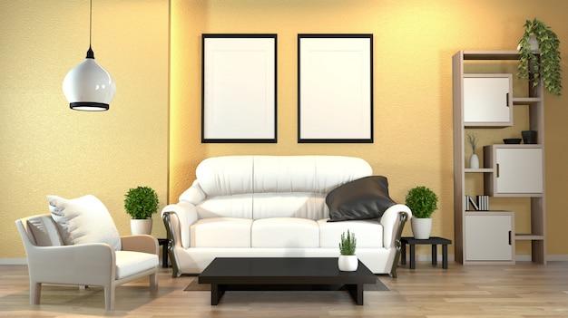 Nowożytny zen wnętrze z kanapą i zielonymi roślinami, lampa, dekoracja japoński styl na kolor żółty ścianie