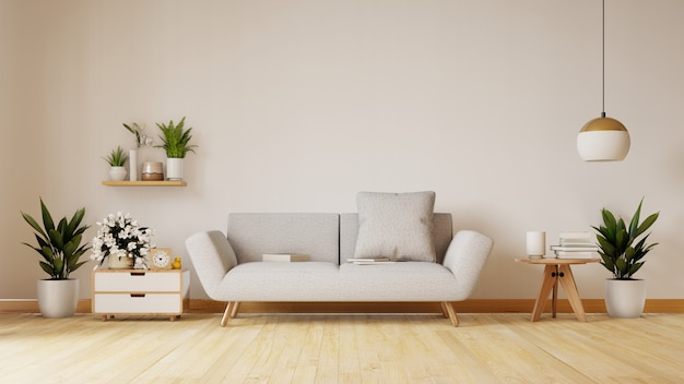 Nowożytny żywy pokój z białą kanapą ma gabinetowe i drewniane półki na drewnianej podłoga i biel ścianie, 3d rendering