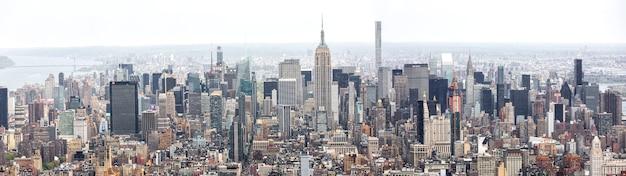 Nowy jork manhattan midtown z lotu ptaka panorama z drapaczami chmur