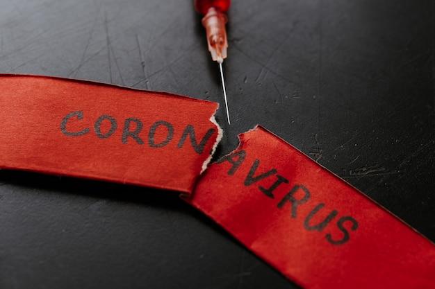 Nowy koronawirus - 2019-ncov, koncepcja wirusa wuhan. strzykawka ze szczepionką koronawirusa łamanie czerwonego papieru, który napisał koronawirusa