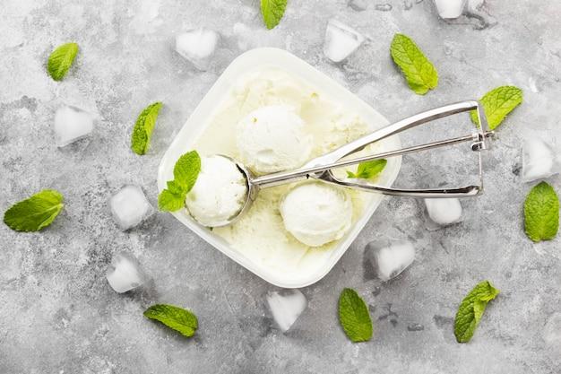 Nowy lody w misce na szarym tle