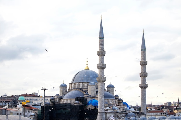 Nowy meczet w stambule przy pochmurnej pogodzie z budynkami mieszkalnymi wokół i latającymi ptakami, turcja