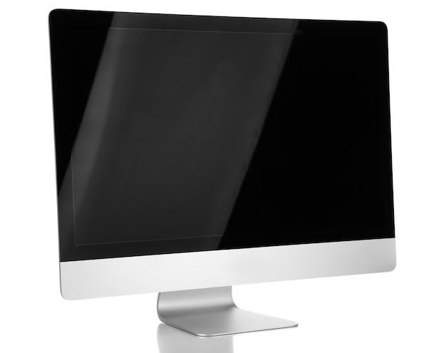 Nowy nowoczesny komputer, na białym tle