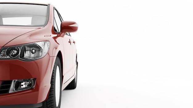 Nowy rodzajowy luksusowy szczegółowo czerwony samochód sportowy jazdy ilustracja na białym tle na białej powierzchni