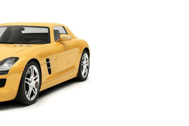 Nowy rodzajowy luksusowy żółty szczegółowo samochód sportowy ilustracja na białym tle na białej powierzchni