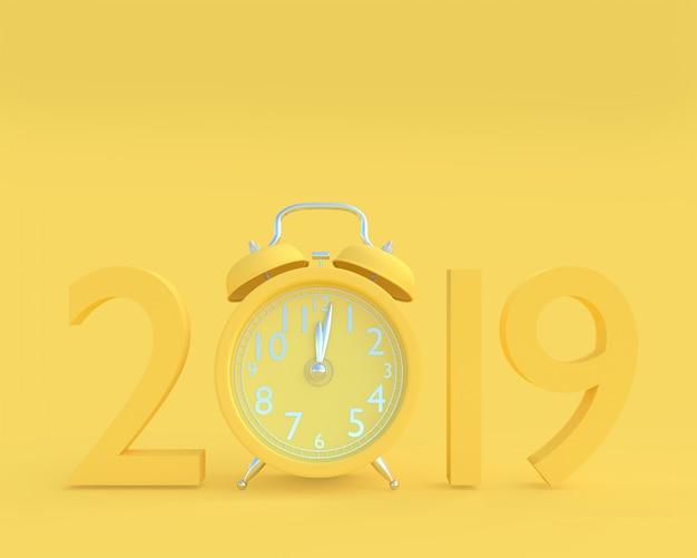 Nowy rok 2019 koncepcja i zegar żółty kolor.