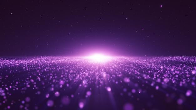 Nowy rok 2020. tło bokeh. światła streszczenie. wesołych świąt bożego narodzenia tło. brokatowe światło. nieostre cząstki. fioletowe i różowe kolory. promienie w centrum