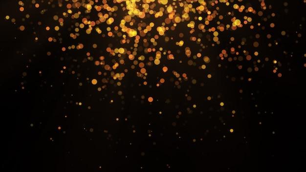 Nowy rok 2020. tło bokeh. światła streszczenie. wesołych świąt bożego narodzenia tło. złoty blask światła. nieostre cząstki. pojedynczo na czarno. narzuta. złoty kolor, góra