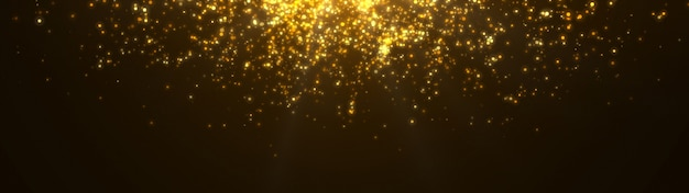 Nowy rok 2020. tło bokeh. światła streszczenie. wesołych świąt bożego narodzenia tło. złoty blask światła. nieostre cząstki. pojedynczo na czarno. narzuta. złoty kolor. widok panoramiczny
