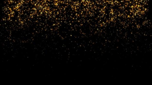 Nowy rok 2020. tło bokeh. światła streszczenie. wesołych świąt bożego narodzenia tło. złoty blask światła. nieostre cząstki. pojedynczo na czarno. narzuta. złoty kolor