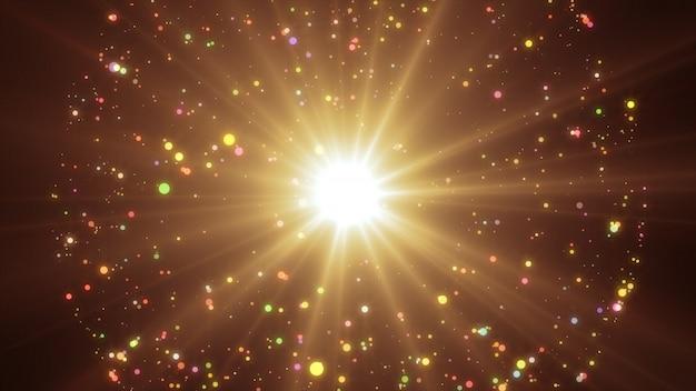 Nowy rok 2020. tło bokeh. światła streszczenie. wesołych świąt bożego narodzenia tło. złoty blask światła. nieostre cząstki. złoty kolor. wybuch