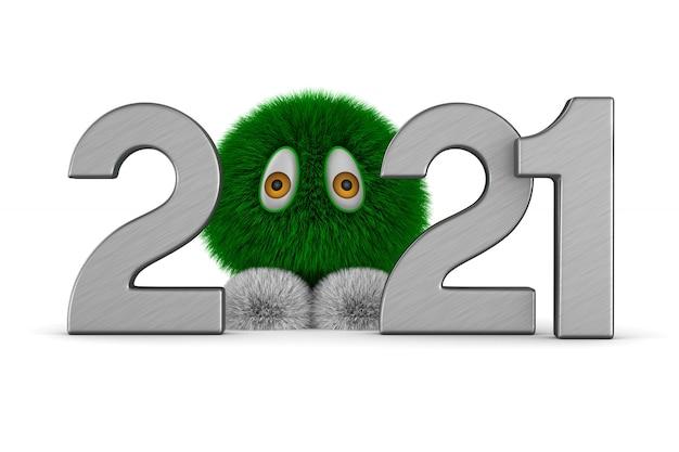 Nowy rok 2021. ilustracja na białym tle 3d