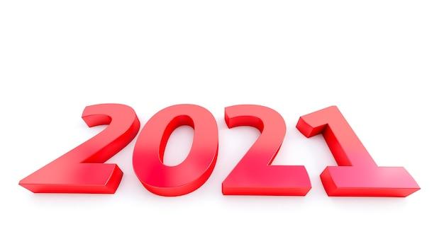 Nowy rok 2021 na białym tle. 2021 na czerwono.