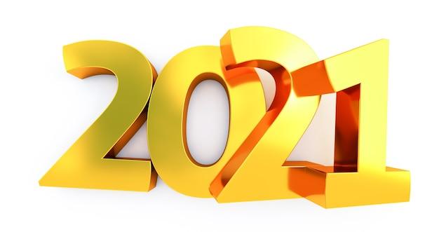 Nowy rok 2021 na białym tle. błyszczący złoty znak