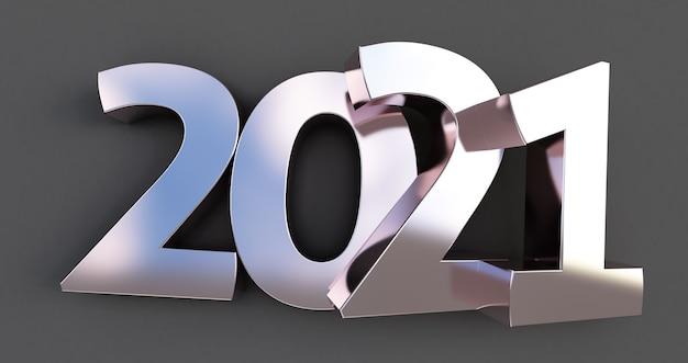 Nowy rok 2021 na białym tle na czarnym tle. błyszczący srebrny metaliczny znak