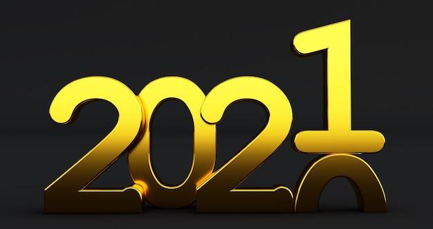 Nowy rok 2021 na białym tle na czarnym tle. błyszczący złoty znak