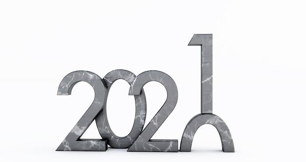 Nowy rok 2021 na białym tle.