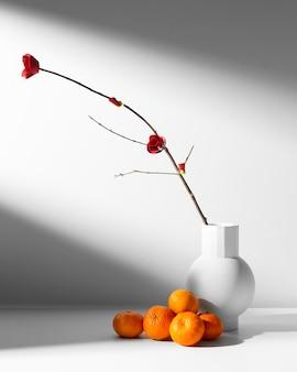 Nowy rok chiński 2021 kupa pomarańczy i kwiat