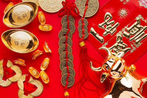 Nowy rok chiński 2021 złoty wół i szczęśliwe pieniądze