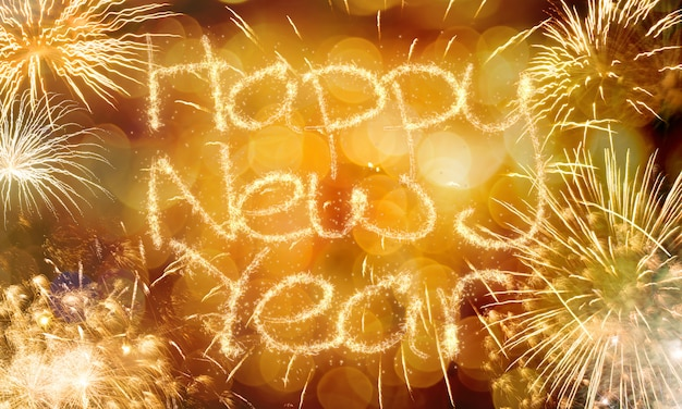 Nowy rok fajerwerków w tle
