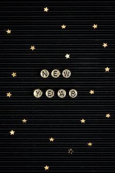 Nowy rok koraliki napis słowo typografia