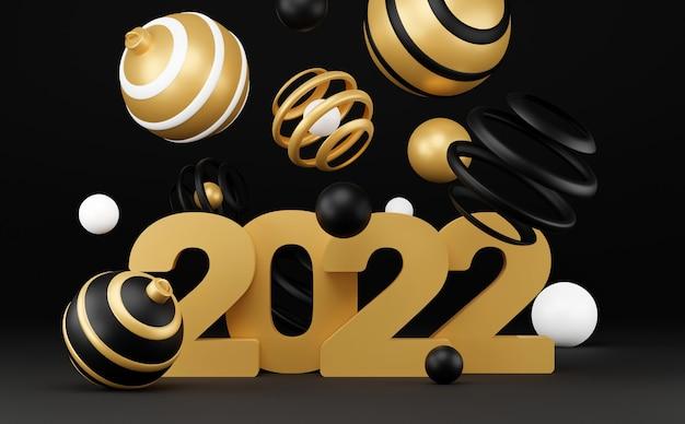 Nowy rok streszczenie tło z 3d sfer. czarno-złota świąteczna luksusowa minimalna koncepcja. projekt dekoracji na nowy rok. renderowanie 3d