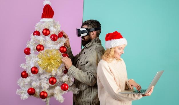 Nowy rok świąteczna przyszłość i koncepcja technologii d technologia wirtualna rzeczywistość rozrywka wirtualna