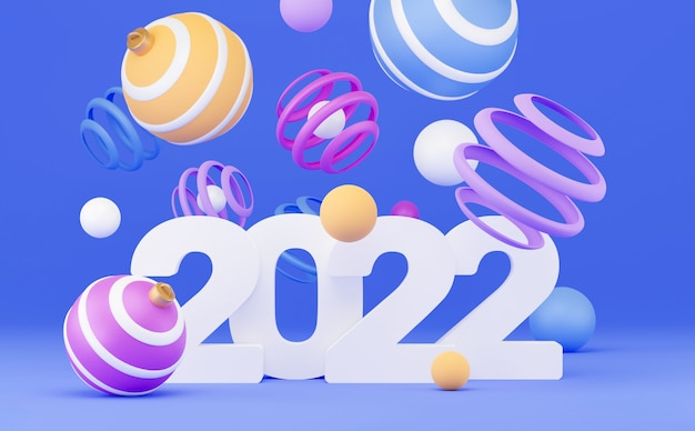 Nowy rok transparent. renderowania 3d, abstrakcyjne kolorowe tło geometryczne, wielobarwne kulki, balony, prymitywne kształty, minimalistyczny design. kartkę z życzeniami wesołych świąt i szczęśliwego nowego roku