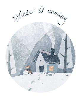 Nowy rok zima okrągła ilustracja przytulny dom dym z komina mrożone góry leśne