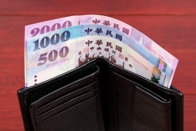Nowy tajwański dolar pieniędzy w czarnym portfelu